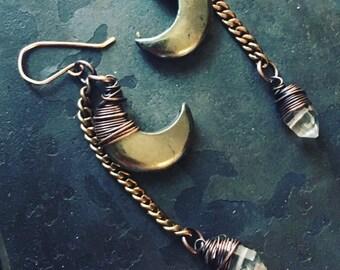 Moon Earrings / Healing Crystal / Gemstone Earrings / Dangle Earrings / Crescent Moon / Daniellerosebean / Drop Earrings / Herkimer Diamonds