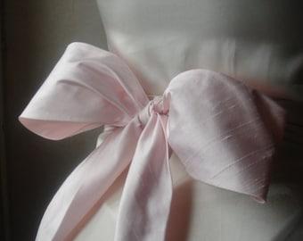 Pale pink dupioni silk obi sash belt