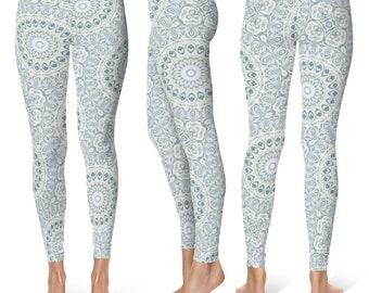 Yoga Pants Leggings, Light Blue Fitness Leggings, Mid Rise Waist Aquamarine Yoga Tights, Exercise Pants