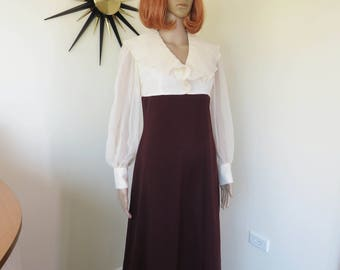 Vintage 70s brown & cream maxi dress - floaty chiffon top flouncy sleeves lovely chocolate brown skirt section - Habe Garments Sydney
