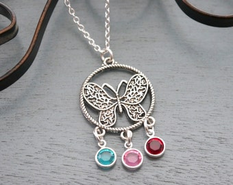 Birthstone Necklace, Personalized Butterfly Necklace, 3 Birthstones Necklace, Three Birthstone Necklace, 3 Sisters Necklace, Custom