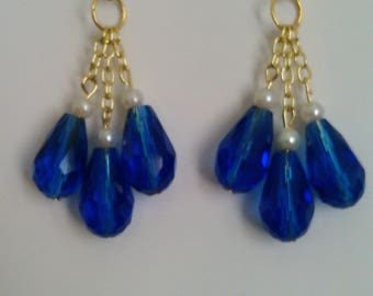 Cerulean blue beaded and chain earrings