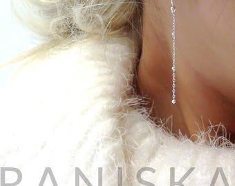 KYLIE Sterling Silver, 14k Gold Filled Delicate Silver Satellite Drop Earrings, Dainty Drop Earrings, Long Dangle Earrings,Everyday Earrings