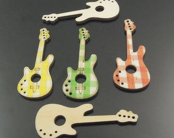 Guitar charm, vintage wood, 70 * 3 * 27 mm, set of 10 Pcs