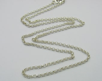Sterling Silver Rolo Chain Necklace for Fingerprint and Handwriting Charms and Pendants, Custom Chain, Durable Chain, Sturdy Chain, Dainty