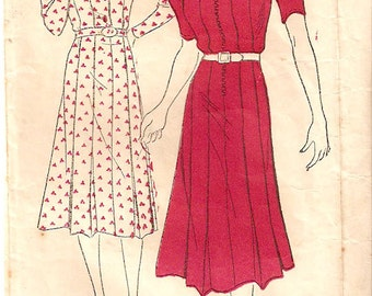New York Pattern vintage 1940s sewing pattern 1248 pleated dress - Size 16-34