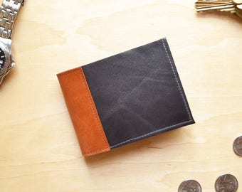 Minimalist Wallet for Men Gray Leather, Slim Bifold Credit Card Wallet for Guys, Compact Wallet Thin - The Frankie Wallet in Dark Slate Grey