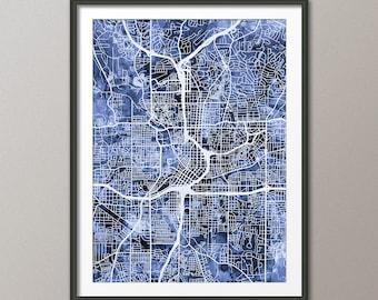 Atlanta Map, Atlanta Georgia City Street Map, Art Print (1805)