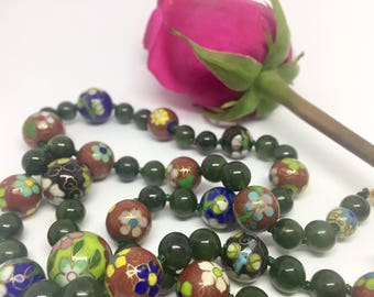 Necklace    Green Jade and     Cloisonné.    Beaded   Cloisonné   necklace. China jewelry . Gift for her