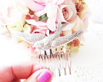 Silver Flying Sparrow Hair Comb - Swallow Hair Comb - Flying Bird Hair Comb - Woodland Hair - Wedding Hair Comb - Silver Bird Comb