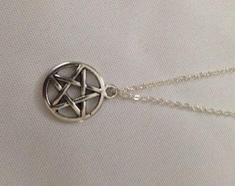 Silver Pentagram Necklace, necklace, pentagram, pentagram necklace, pentagram pendant, silver necklace, silver, jewelry, pentagram jewelry