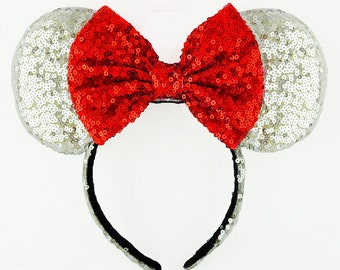 Minnie Mouse Ears Red Bow Silver Sequin Minnie Mouse Headband Sequin Mickey Mouse Ears Sequin Minnie Ears Minnie Bow Mickey Ears Disney Ears