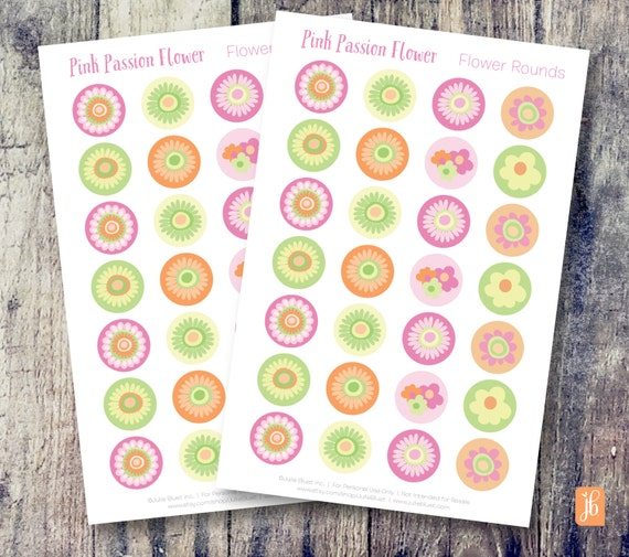 Round planner stickers 75 round stickers pink passion flower decorative planner stickers functional and decorative stickers from juliebluet on etsy