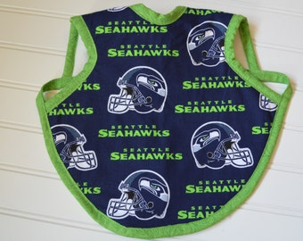 Adorable Baby Apron, Bapron, Fleece lined bib, Seahawks, Football, Baby Accessories, Baby Bib, Baby Shower gift, Baby Bapron