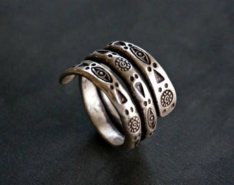 Niron Sterling Silver Ring Band Unique Ring Boho Jewelry