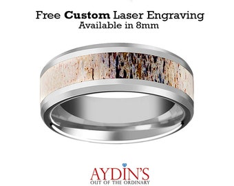 Tungsten Deer Antler Inlay  Tungsten Wedding Band  Ombre Deer Antler  Beveled  Polished Finish  8mm  Tungsten Wedding Ring