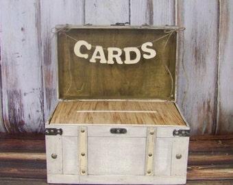 Wedding Card Box with Slot, Shabby Chic Card Box, Advice Box, Shabby Chic Wedding, Ivory/Gray Card Box, Wooden Card Box, Rustic Weddding