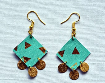 fabric jewelry, geometric gold patterns, Rhombus, geometric dangle earrings jewelry, fabric, Bohemian