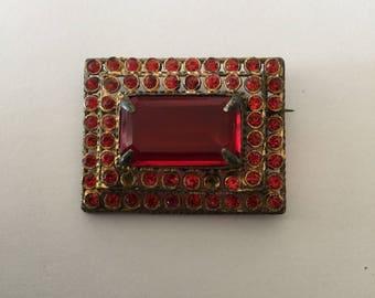 Vintage Red Rhinestone Dimensional Pin 1930's