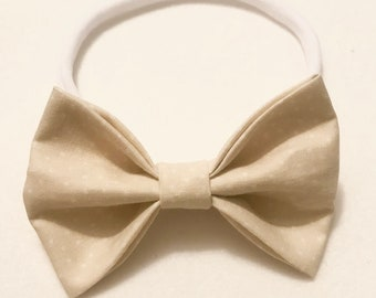 Neutral Polka Dot Bow