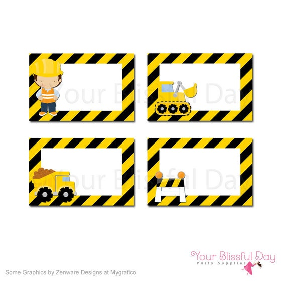 Construction Birthday Party Food Ideas: Construction Party Printable Label Tents 521 Construction