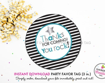 Rockstar Boy (Blue) - Printable 3 inch Birthday Party Favor Tags - Instant Download PDF File