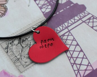 Farm wife hand stamped necklace