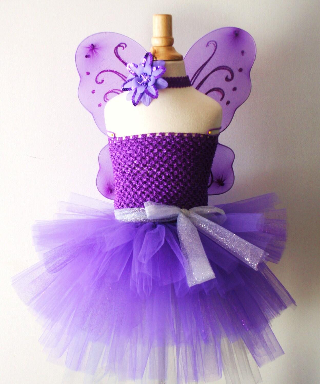 Baby Girls Purple Butterfly Wings Tutu Dress With Headband Set
