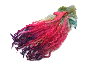 """1oz Premium Hand picked Teeswater wool locks, 10""""-12"""", Extreme locks for tailspinning and felting  (10B)"""