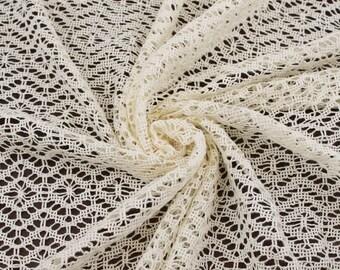 Off White Cream Paper Lantern Crochet Sweater Knit Fabric - 1 Yard Style 6389