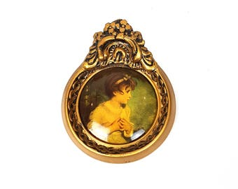 """Vintage Wood Wall Frame Ornate Gilt Print Age Of Innocence Round Rococo Baroque Victorian 6 1/4"""" 15cm"""