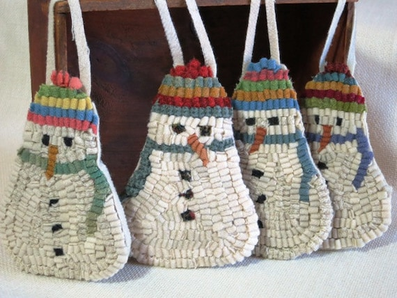 Rug Hooking PATTERN on monks cloth or primitive linen, Four Snowman Ornaments, J874, Primitive Hooked Ornaments, DIY