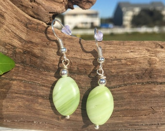 Lime Green Earrings, Czech Glass Earrings, Dangle Earrings, Glass Earrings, Silver Beaded Drop Earrings, Green Earrings, Gifts for Her