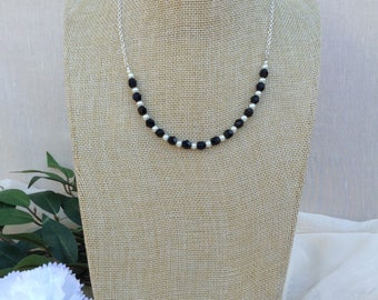 Jet Black Crystal and Pearl  Necklace