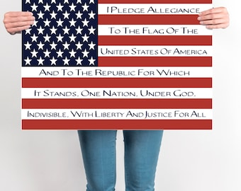 Pledge Of Allegiance, Patriotic Flag Art, Flag Art, DIGITAL, YOU PRINT, Pledge of Allegiance Flag Art, Homeschool Flag, Printable Flag