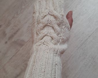 Hand knitted white wool mittens gloves for women