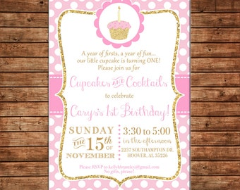 Girl Invitation Pink Gold Glitter Cupcake Birthday Party - Can personalize colors /wording - Printable File or Printed Cards