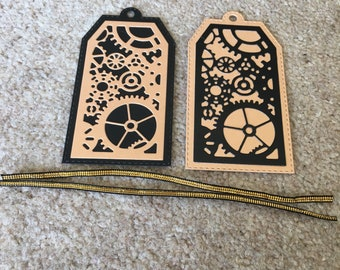 Gift Tags *Steampunk Design* Cogs gears  Two Supplied