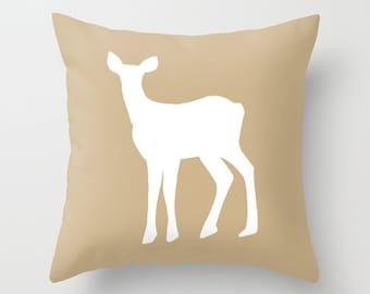 Neutral Deer Pillow Cover, warm beige fawn silhouette pillow, rustic home decor, animal decorative pillow, fall decor, c pillow