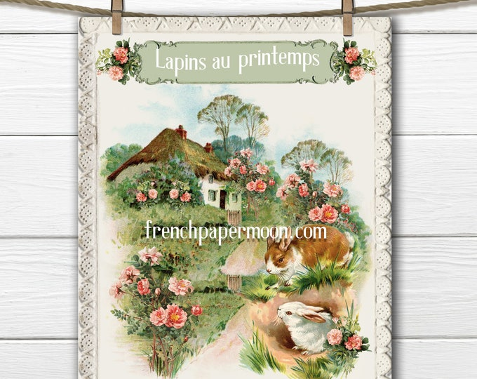 Shabby French Cottage Printable, Bunnies, Garden, Roses, Large Image Transfer Graphic, Spring Pillow Image, Craft Supply