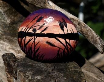 Calming scene, hand painted stone, handmade gift, handcraft, free shipping