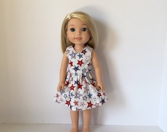 "14.5"" Doll 4th of July Dress. Fits Wellie Wishers. Accessories. Independence Day Dress.14.5"" Doll Clothes. Like American Girl. Summer Dress."