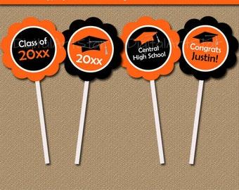 Graduation Cupcake Toppers in Orange Black - Cupcake Decorations - Graduation Party Decorations - Printable Graduation Cupcake Picks G1