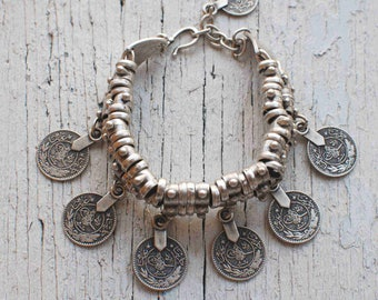 Boho Bangle Bracelet,Turkish Coin Bracelet,Tribal Brcelet,Ethnic Bracelet,Adjustable-Stackable