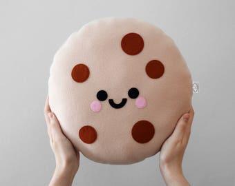 Chocolate Chip Cookie Cushion, Cute, Food Plushie, Junk Food, Throw Pillow