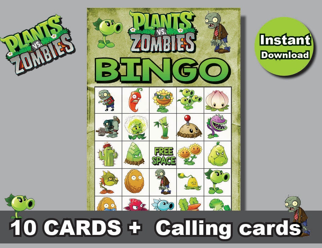 Instand dl plants vs zombies bingo 10 cards calling cards zoom kristyandbryce Choice Image