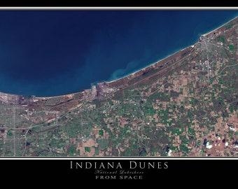 Indiana Dunes National Lakeshore Satellite Poster Map