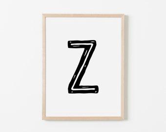 True North Z Nursery Art. Nursery Wall Art. Nursery Prints. Nursery Decor. Personalized Wall Art. Monogram Art. Black Letter Wall Art.