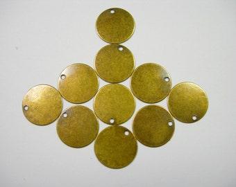 Antiqued Brass Discs Earring Findings Drops - 10 S 12mm