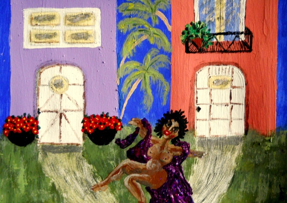 """Original Acrylic Painting, """"DANCING AT DAWN,"""" (Nude) African American Artist Stacey Torres 15 x 11"""""""